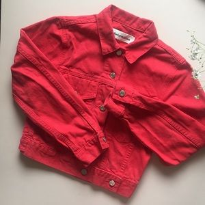 reformation red jean jacket